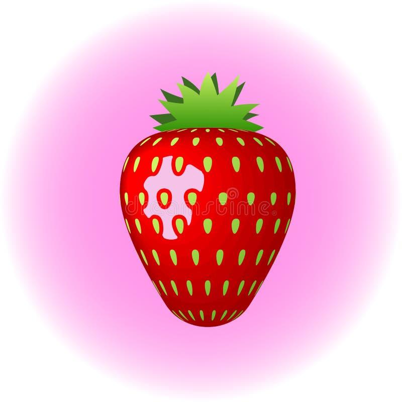 Vektorsymbol f?r jordgubbe som 3d isoleras p? vit bakgrund Realistisk s?t frukt stock illustrationer