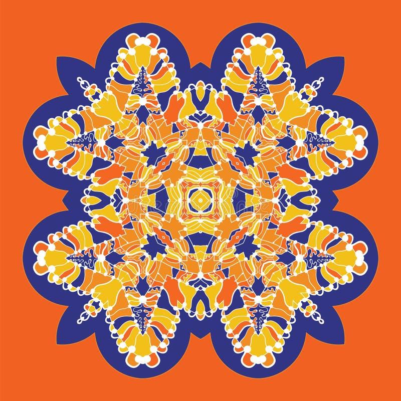 Vektorsymbol med den abstrakta prydnaden Vektormandala med hörn i barnslig stil Dekorativ klotterapelsin som är gula och royaltyfri illustrationer