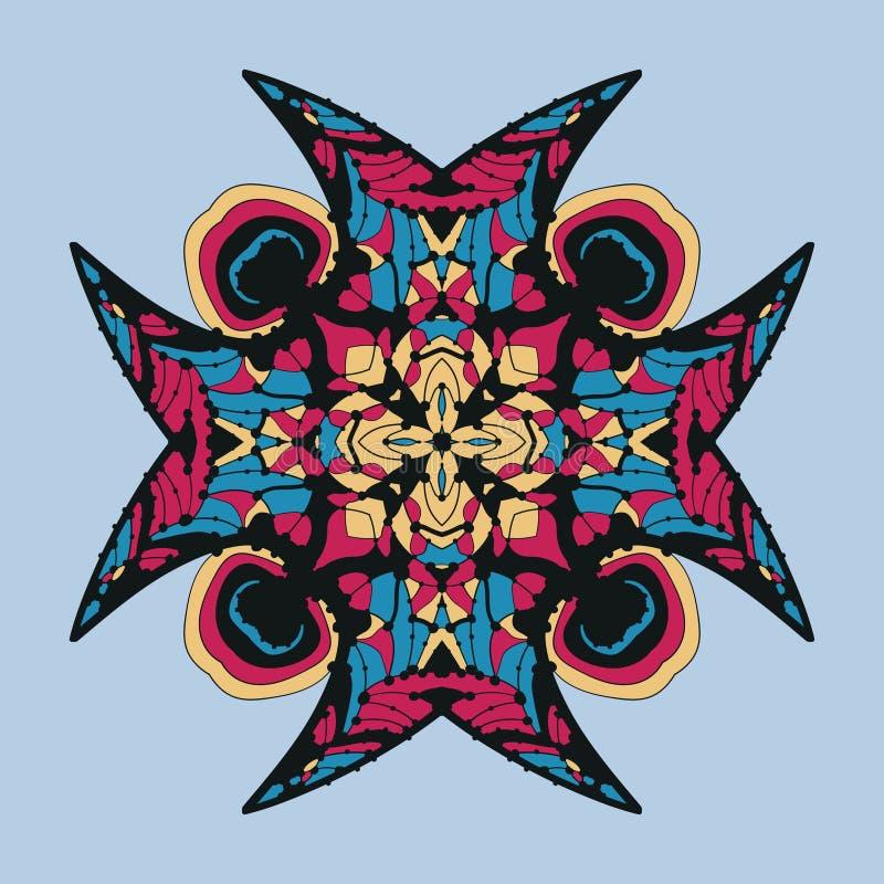 Vektorsymbol med den abstrakta prydnaden Vektormandala med hörn i barnslig stil Dekorativt klotter som är rött som är gult och stock illustrationer