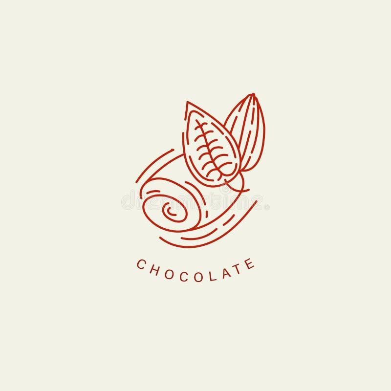 Vektorsymbol och logo för choklad och sötsak stock illustrationer