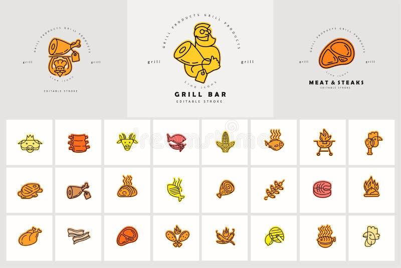 Vektorsymbol och logo för kött- och gallerkafé- eller biffrestaurang Redigerbart översiktsslaglängdformat Linje plan kontur som ä stock illustrationer