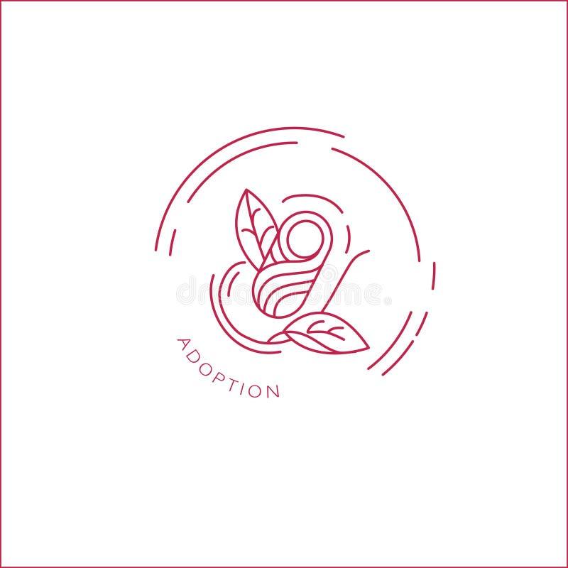 Vektorsymbol och logo för pegnancy och gynekologi royaltyfri illustrationer