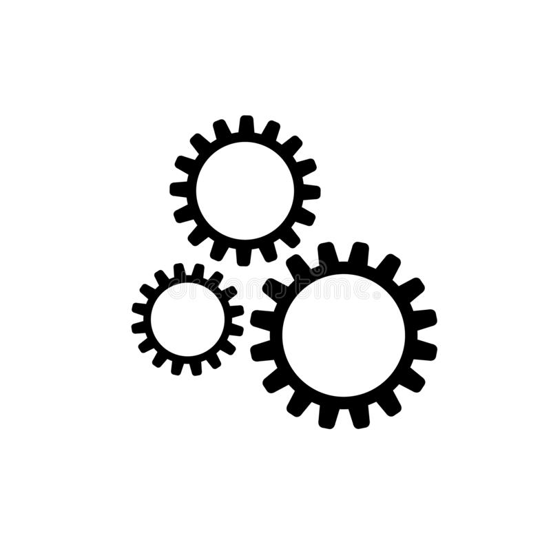 Vektorsymbol: Tre kugghjul, teknisk illustration för maskin som är svartvit vektor illustrationer