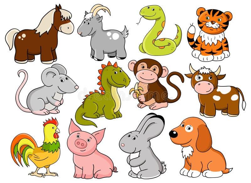 Vektorsymbole des chinesischen Horoskops lizenzfreie abbildung