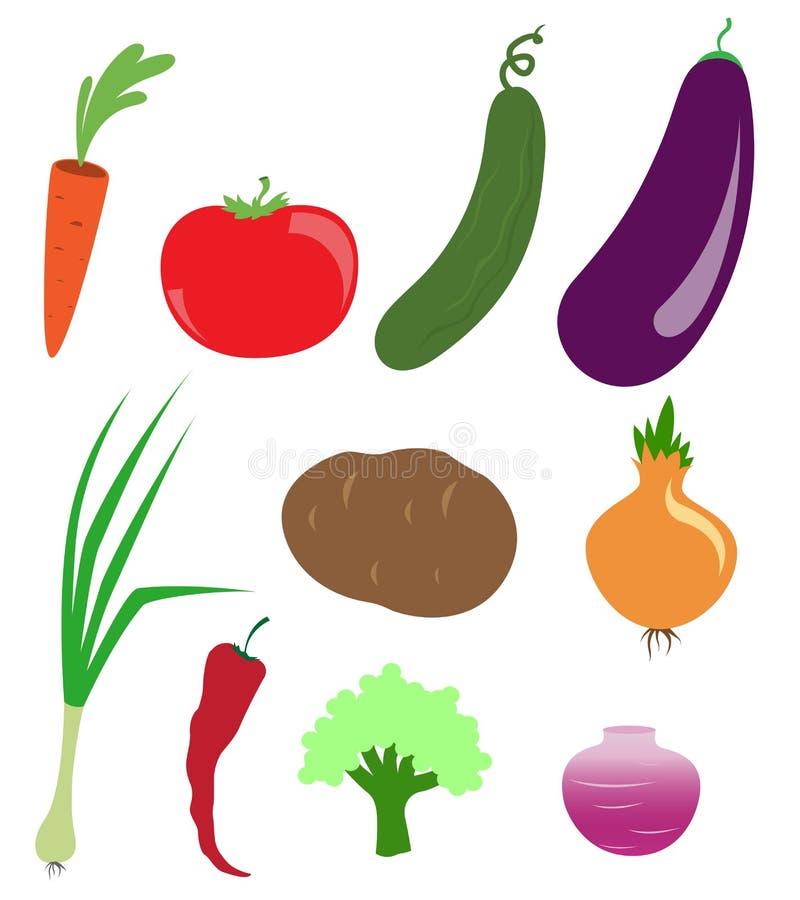 Vektorsymbole des Gemüses stockbild