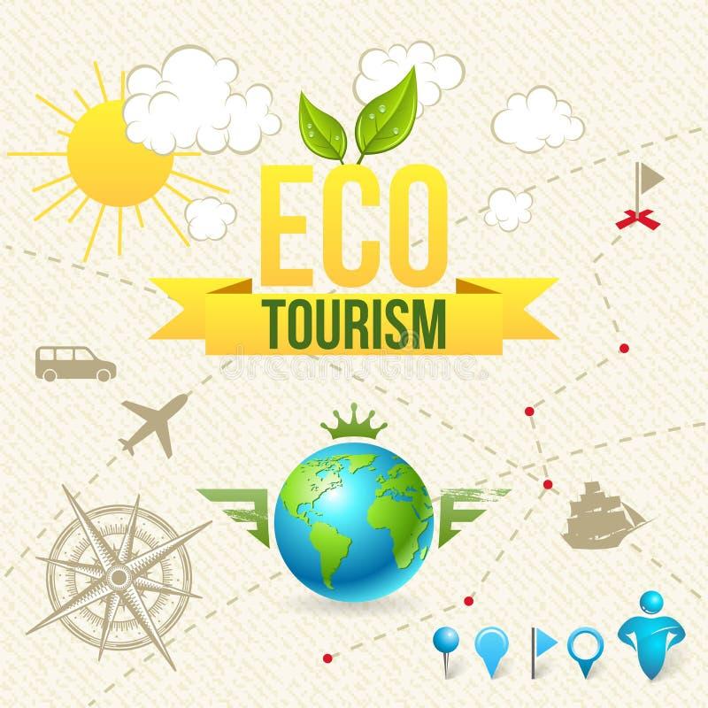 Vektorsymbolen och etiketten av Eco turism och reser vektor illustrationer