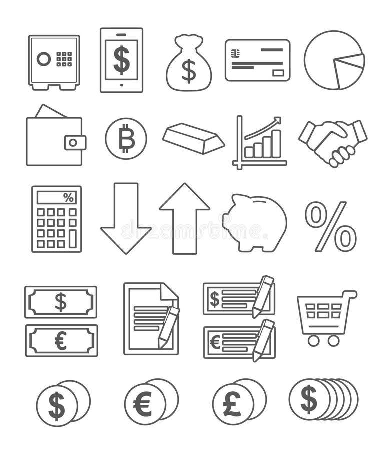 Vektorsymbolen ställde in för att skapa infographicsen släkt finanser, bankrörelsen, detaljhandel, komrets och pengarbesparingen stock illustrationer