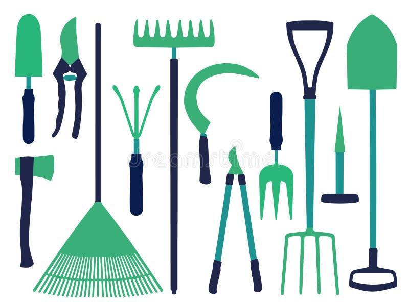 Vektorsymbolen ställde in med olika arbeta i trädgården hjälpmedelsymboler som skyffeln, yxa, krattar, lie- eller dyngagaffeln royaltyfri illustrationer