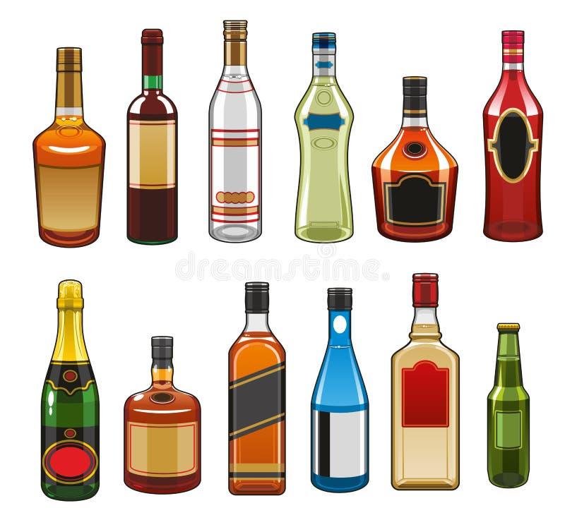 Vektorsymboler av alkoholdrinkflaskor royaltyfri illustrationer