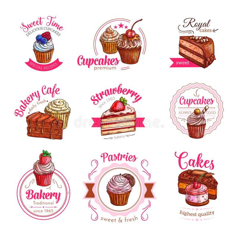 Vektorsymboler av bakelseefterrätten bakar ihop och muffin royaltyfri illustrationer