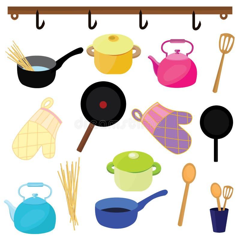 Vektorsymboler av köksgeråd av olika färger royaltyfri illustrationer