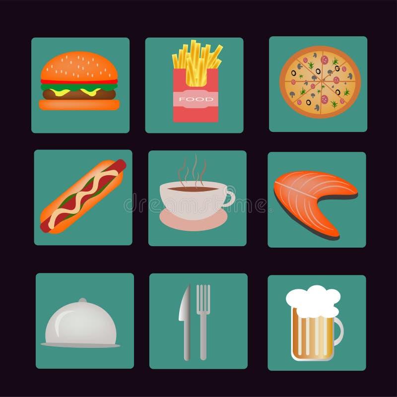 Vektorsymboler av mål, drinkar, snabbmat på turkos stock illustrationer