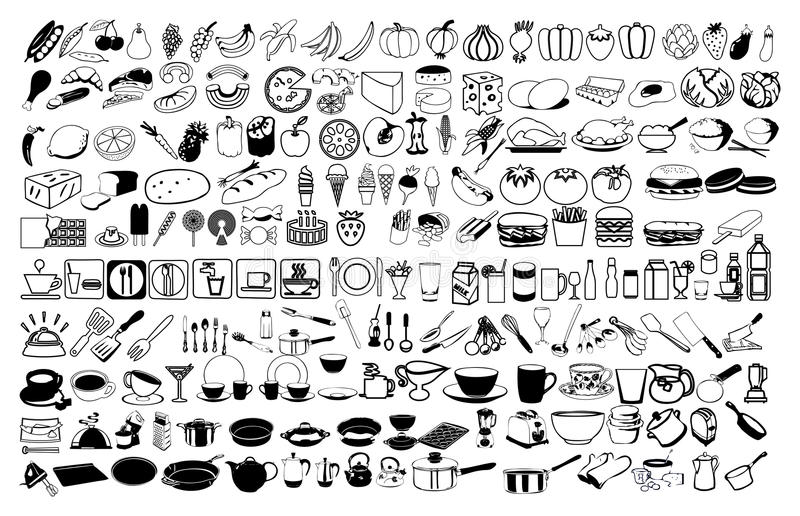 Vektorsymboler av mat stock illustrationer