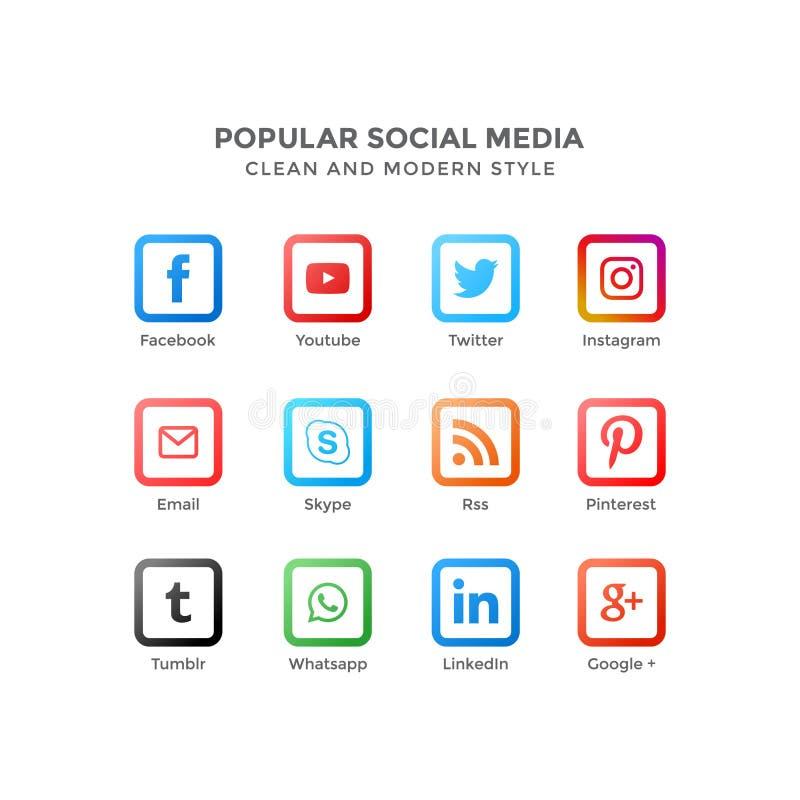 Vektorsymboler av populärt socialt massmedia i ren och modern stil stock illustrationer