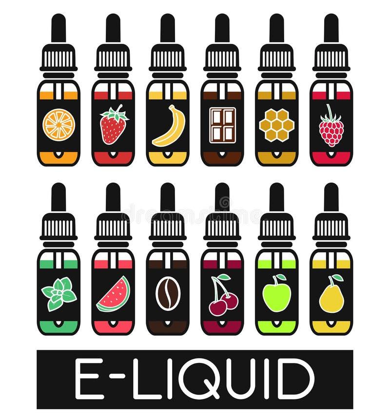Vektorsymboler av smaker av den elektroniska cigaretten stock illustrationer