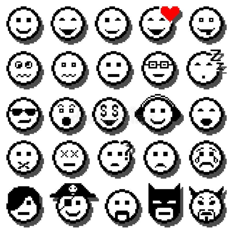 Vektorsymboler av smileyframsidor vektor för digitalt för familj för konst seamless lyckligt för illustration PIXEL för modell royaltyfri illustrationer