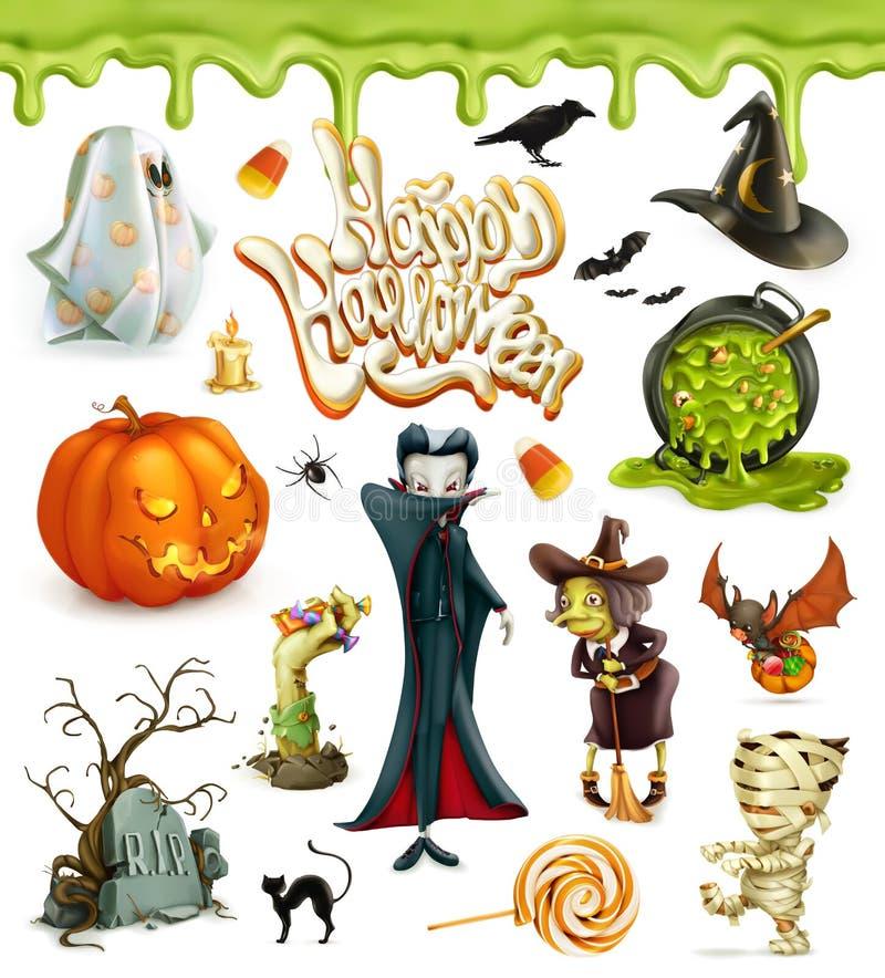 Vektorsymboler för allhelgonaafton 3d Pumpa spöke, spindel, häxa, vampyr, godishavre Uppsättning av tecknad filmtecken och objekt stock illustrationer