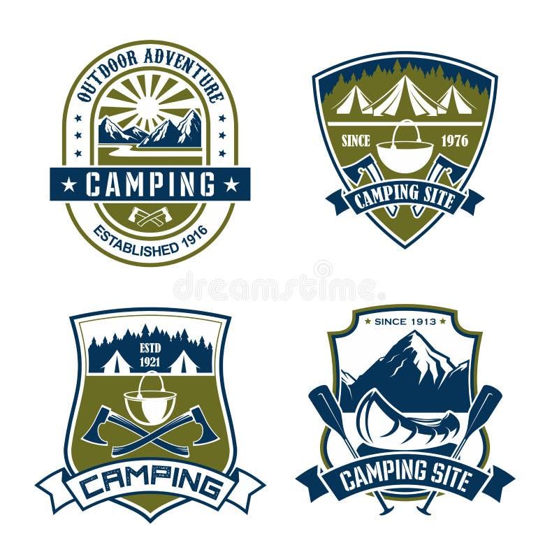 Vektorsymboler för campa platsbergaffärsföretag stock illustrationer