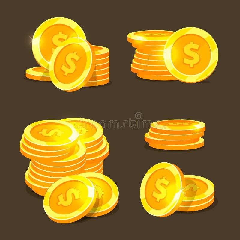 Vektorsymboler för guld- mynt, guld- mynt staplar och högar vektor illustrationer