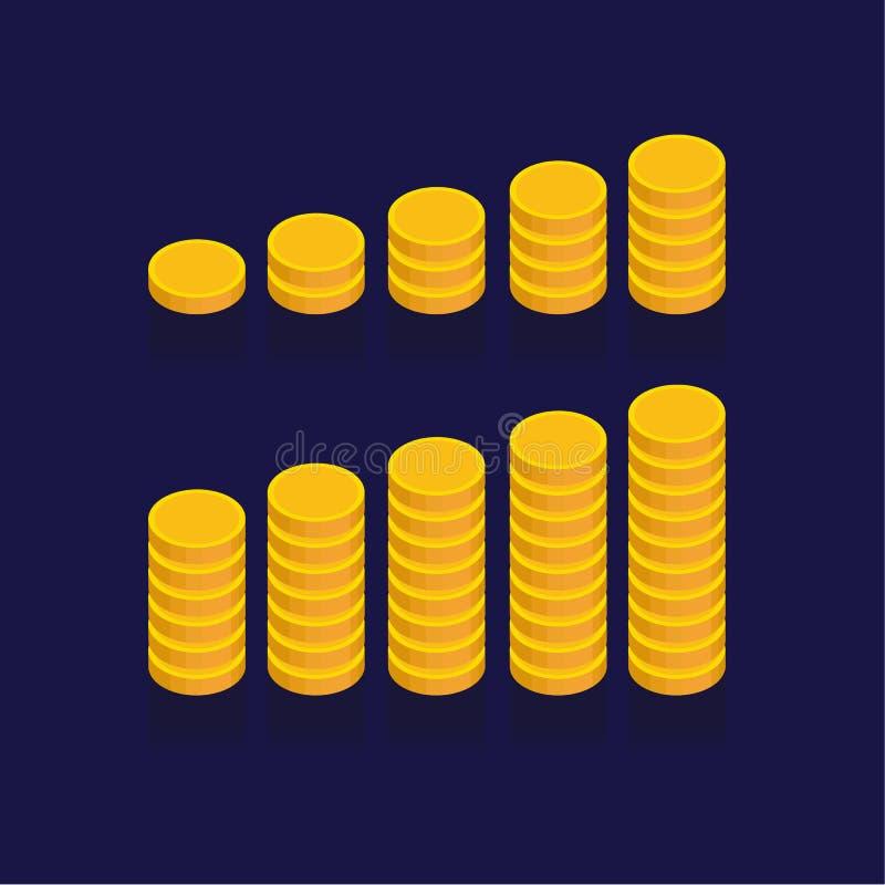Vektorsymboler för guld- mynt, guld- mynt staplar och högar På blått stock illustrationer