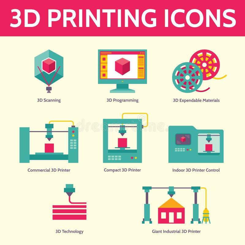 vektorsymboler för printing 3D i plan designstil stock illustrationer