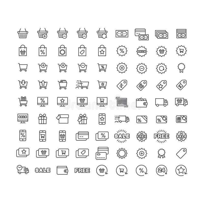 Vektorsymboler fastställd shopping, köp, försäljning, rabatter, leverans av varor och tjänst på vit bakgrund royaltyfri illustrationer