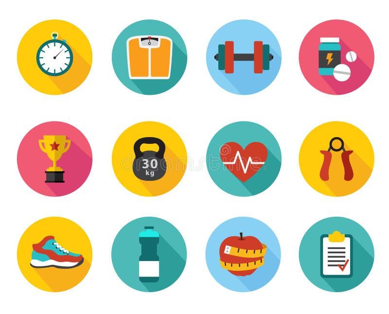 Vektorsymboler i sund sport för plan stil och stock illustrationer
