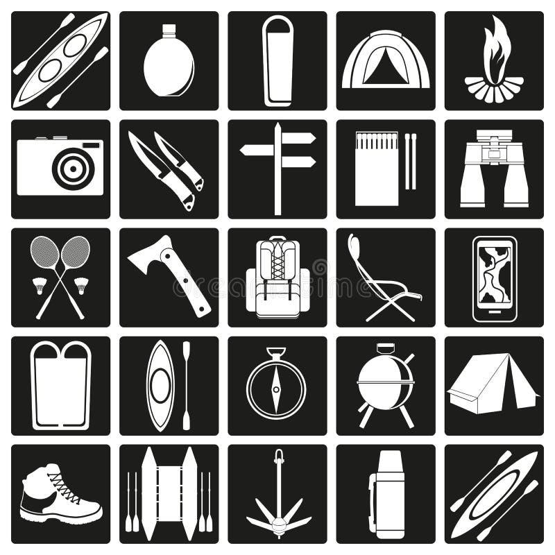 Vektorsymboler på temat av turism royaltyfri illustrationer