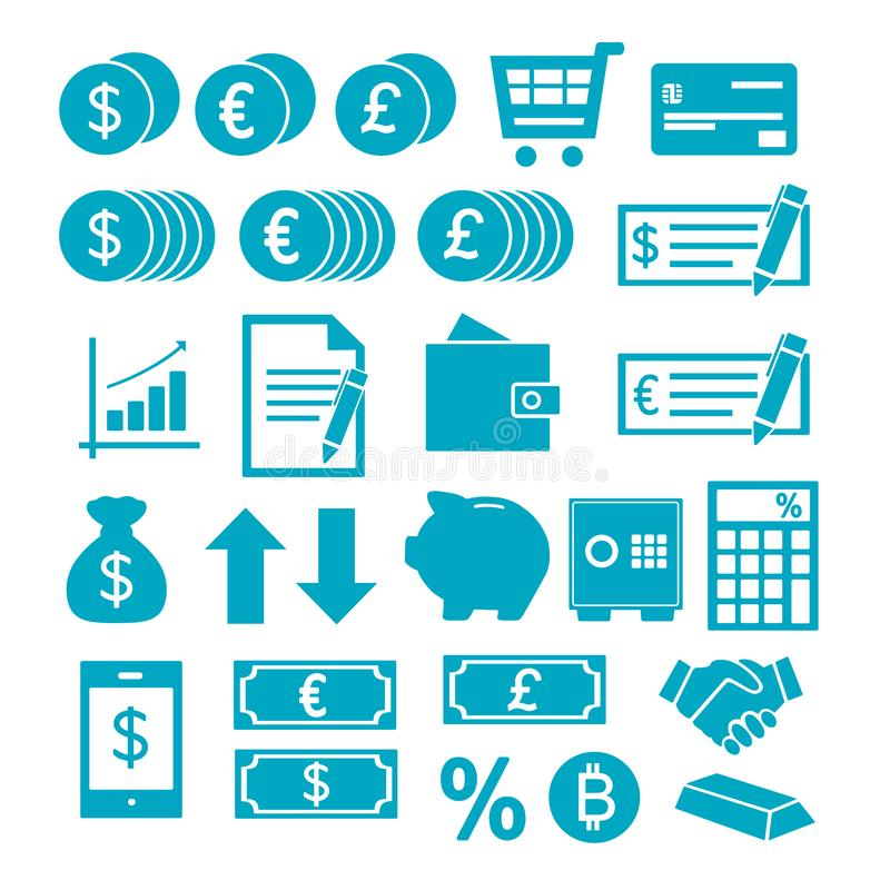 Vektorsymboler ställde in för att skapa infographicsen om finanser, shopping, besparing vektor illustrationer