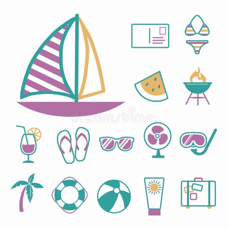 Vektorsymboler ställde in för att skapa infographicsen släkt sommar, loppet och semestern, som segelbåten, bikinin, vykort royaltyfri illustrationer