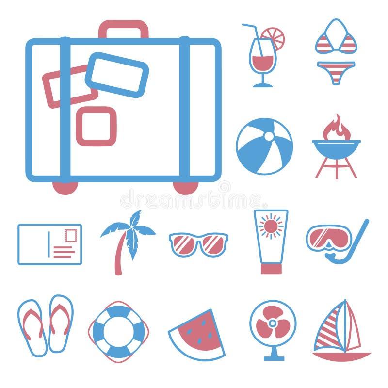 Vektorsymboler ställer in för att skapa infographicsen släkt sommar, lopp, och semestern, som resväskan, gömma i handflatan, segl royaltyfri illustrationer