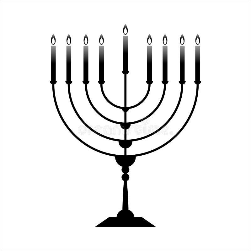 Vektorsymbolet av menoror för Chanukkah isoleras på vit royaltyfri illustrationer