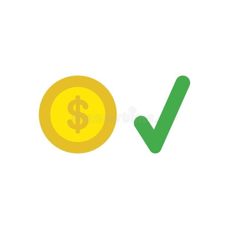 Vektorsymbolsbegrepp av dollarmyntet med kontrollfläcken stock illustrationer