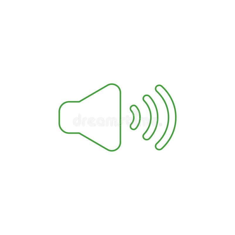Vektorsymbolsbegrepp av ljudet på Färgöversikter vektor illustrationer