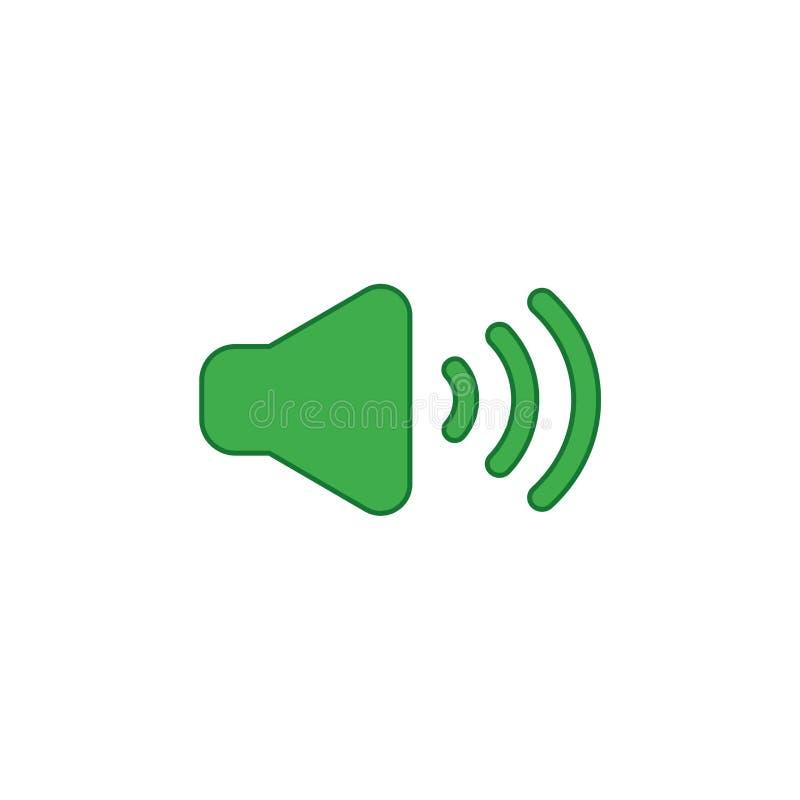 Vektorsymbolsbegrepp av ljudet på Färgade och färgöversikter royaltyfri illustrationer
