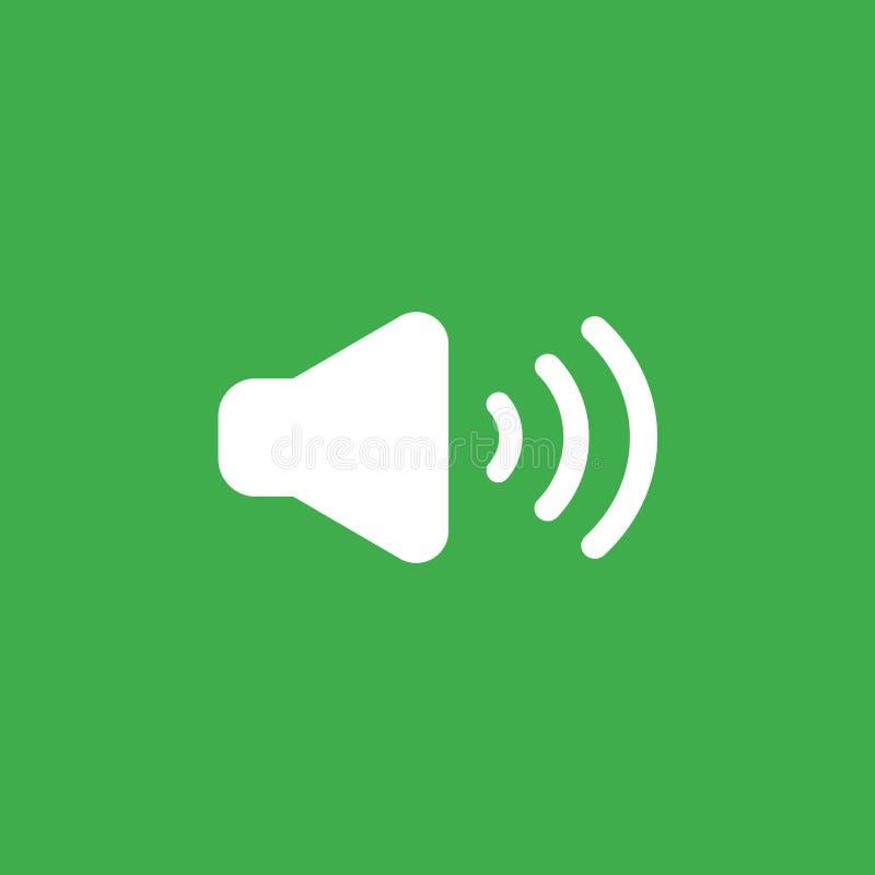 Vektorsymbolsbegrepp av ljudet på symbol på grön bakgrund stock illustrationer