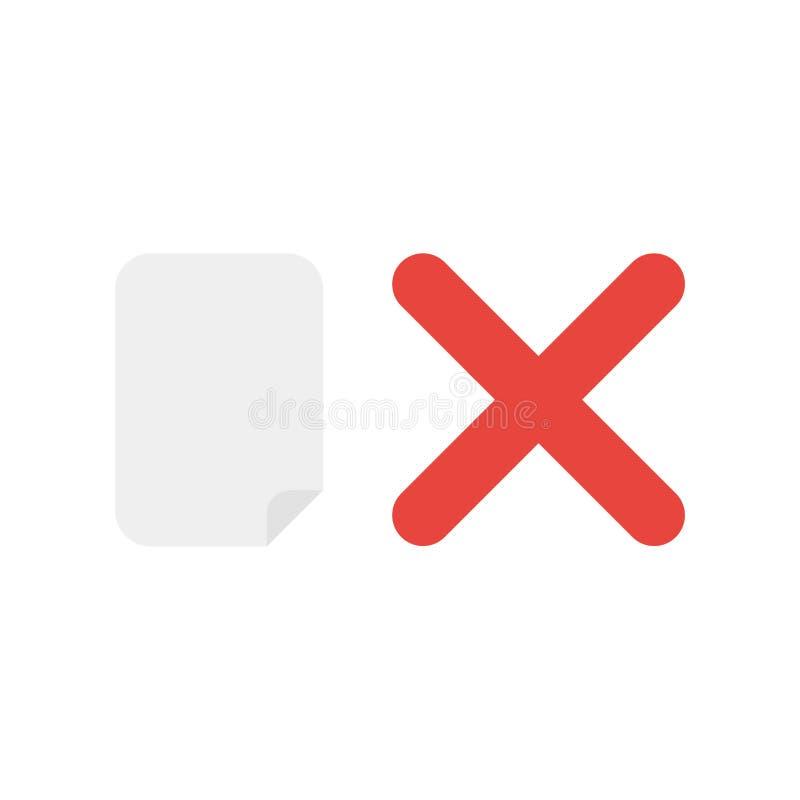 Vektorsymbolsbegrepp av tomt papper med x-fläcken stock illustrationer