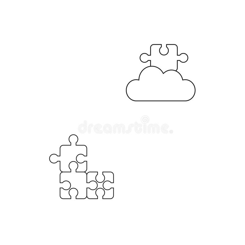 Vektorsymbolsbegrepp av tre förbindelsepusselstycken och det saknade pusselstycket på molnet Svart ?versikt vektor illustrationer