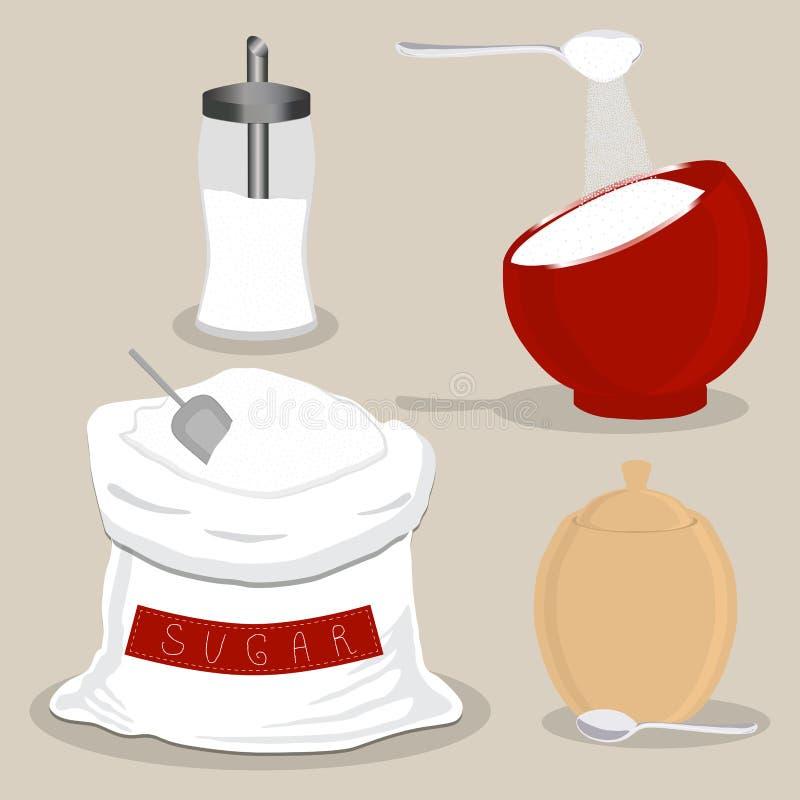 Vektorsymbolsillustration av logoen för socker för pulver för temauppsättning sött crystal royaltyfri illustrationer