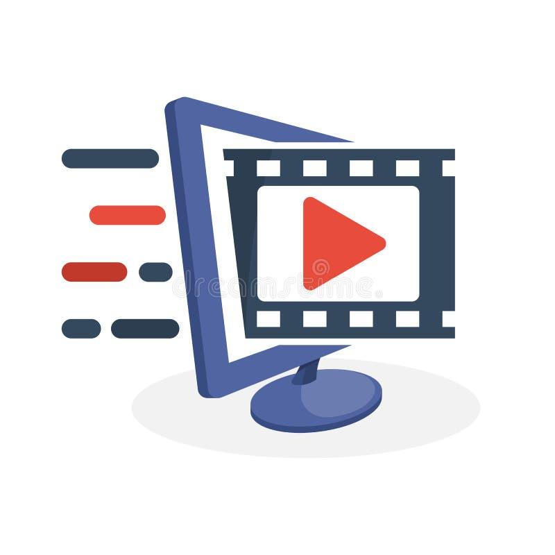Vektorsymbolsillustration med digitala massmediabegrepp om information om film, film som strömmar service stock illustrationer