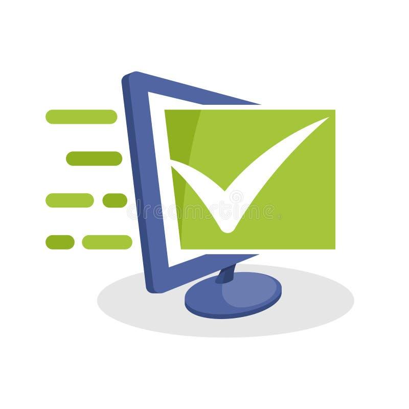 Vektorsymbolsillustration med digitala massmediabegrepp om online-verifikationen, online-granskning, online-granskning stock illustrationer