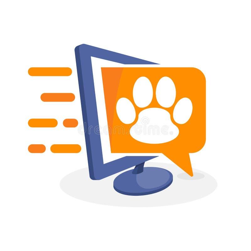 Vektorsymbolsillustration med digitalt massmediabegrepp om djur information vektor illustrationer