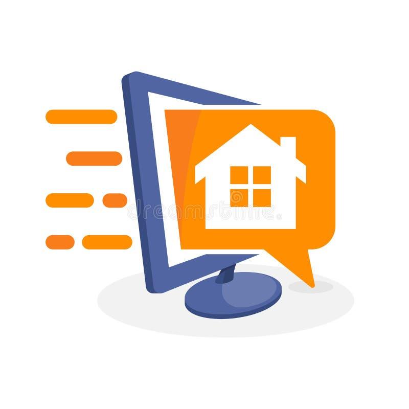 Vektorsymbolsillustration med digitalt massmediabegrepp om information om husegenskap royaltyfri illustrationer