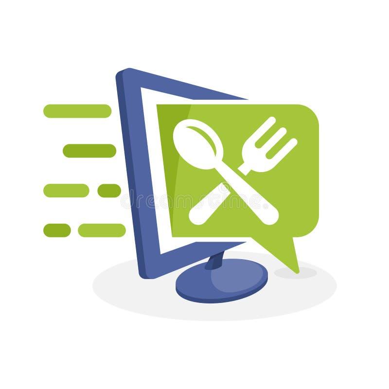 Vektorsymbolsillustration med digitalt massmediabegrepp om kulinarisk information, mat vektor illustrationer