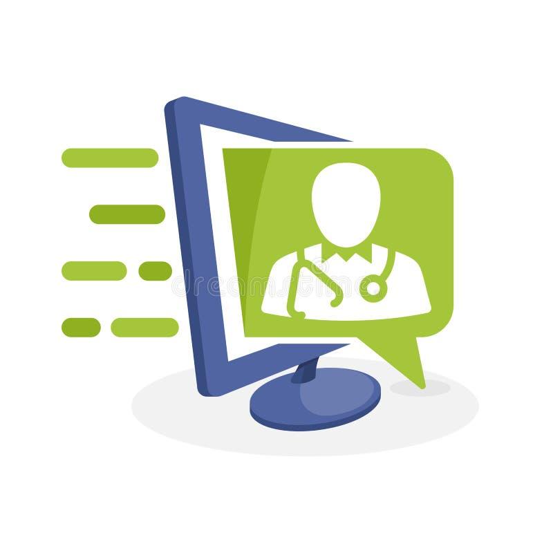 Vektorsymbolsillustration med digitalt massmediabegrepp om vård- information stock illustrationer