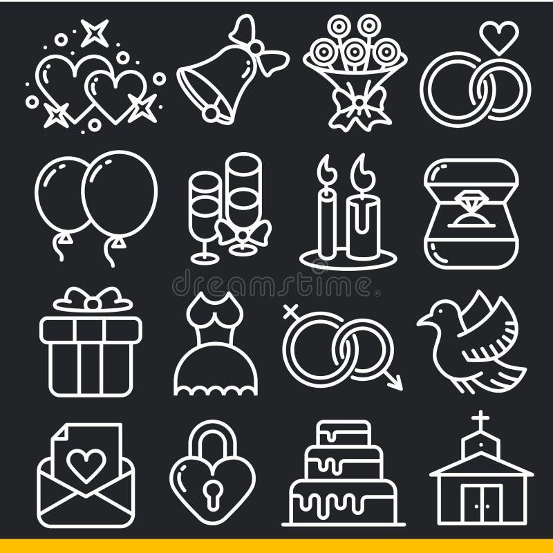 Vektorsymbolslinjer uppsättning stock illustrationer