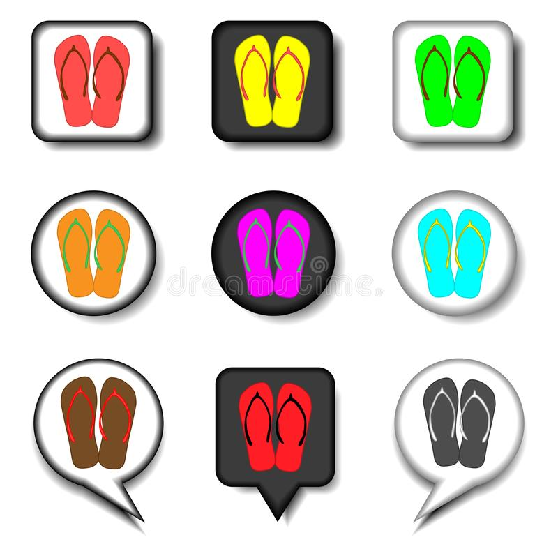 Vektorsymbolslogo för för sommarhäftklammermatare för fastställda symboler flo för flip för sandal stock illustrationer