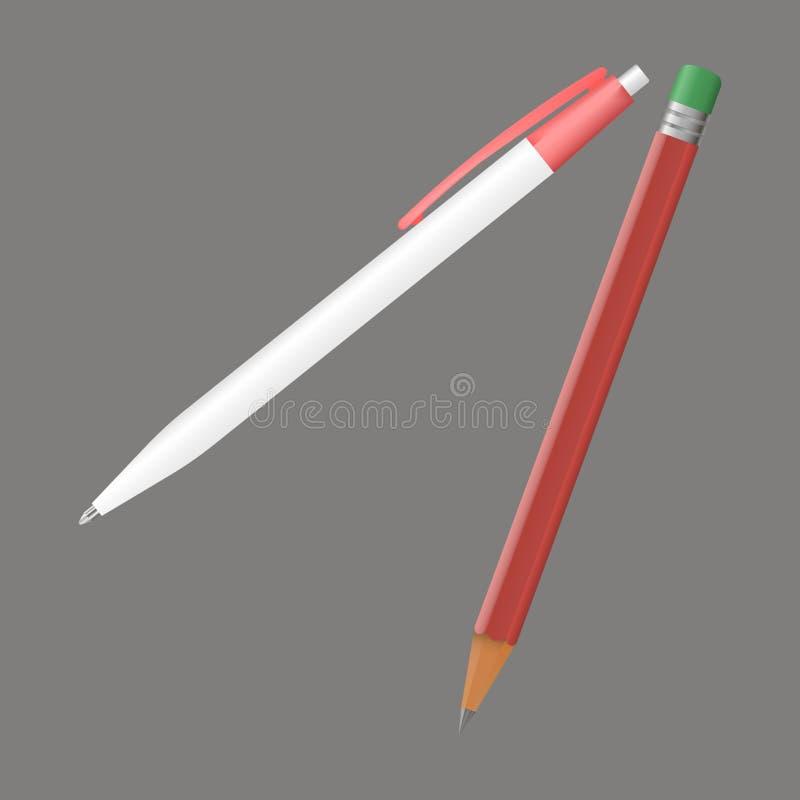 Vektorsymbolspenna och blyertspenna realistisk bild 3d för affären, edu royaltyfri illustrationer
