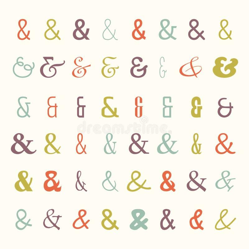 Vektorsymbolsuppsättning av kulöra et-tecken royaltyfri illustrationer
