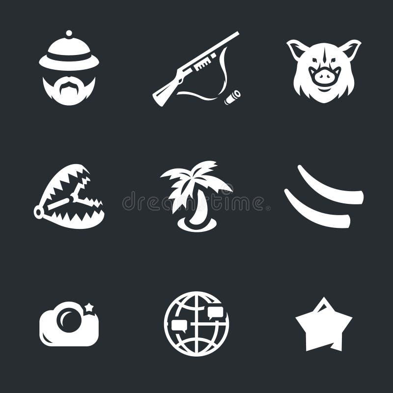 Vektorsymbolsuppsättning av safari royaltyfri illustrationer